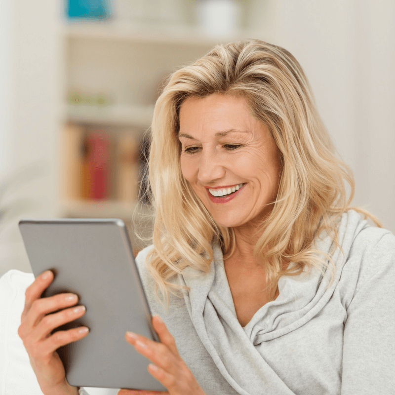 woman reading menopause course